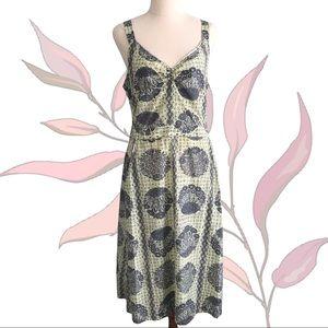 LISA HO Floral Silk/Cotton Dress with Sequin Trims